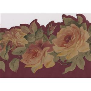Norwall Roses on Vine Wallpaper Border - Pink/Yellow