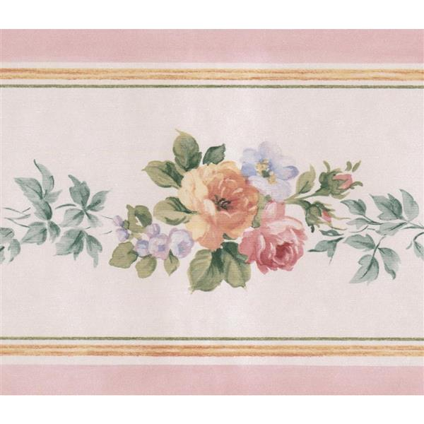 Norwall Roses in Bouquet Floral Wallpaper Border - Yellow