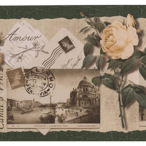 Norwall Famous Places Retro Postcards Vintage Wallpaper