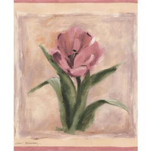 Flowers on Paintings Wallpaper Border - Blue