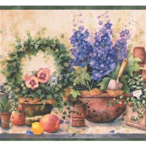 Flowers in Pots Farmhouse Wallpaper Border - Purple