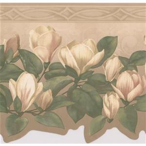 Retro Art Floral Wallpaper Border - White/Beige