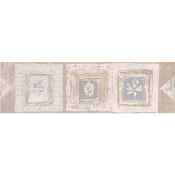 Norwall Rustic Squares with Leaves Abstract Wallpaper Border