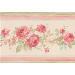 Roses in Bouquet Floral Wallpaper Border - White