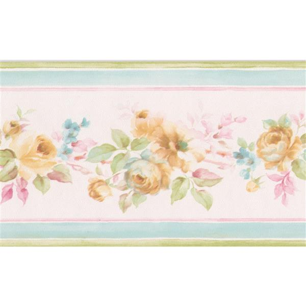 Norwall Roses in Bouquet Floral Wallpaper Border - Yellow/Pink