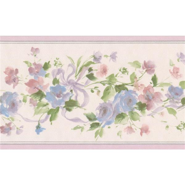 Norwall Flowers on Vine Floral Wallpaper Border - Blue/Pink