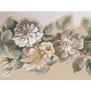 Norwall Roses on Vine Floral Wallpaper Border - Yellow/Grey