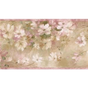 Norwall Floral Vintage Wallpaper Border - White/Pink