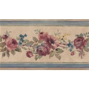 Norwall Bloomed Roses Floral Wallpaper Border - Pink/Beige