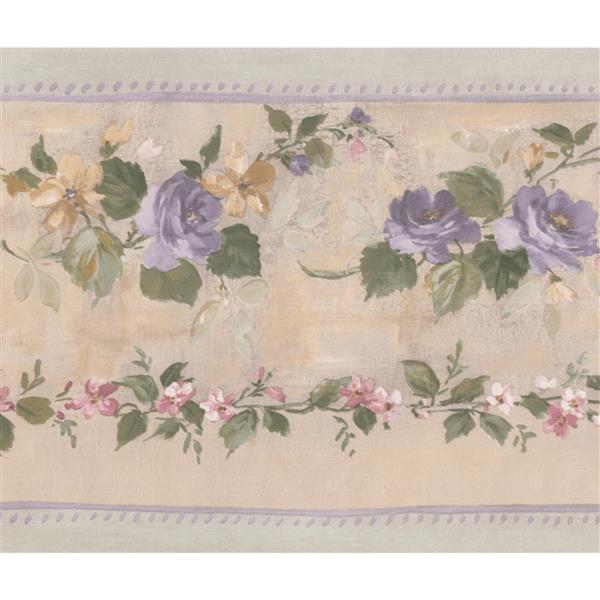 Norwall Bloomed Roses on Vine Wallpaper Border - Purple/Beige