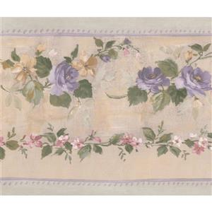 Norwall Bloomed Roses on Vine Wallpaper Border - Purple/Beige
