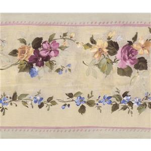 Norwall Bloomed Roses on Vine Wallpaper Border - Pink/Beige