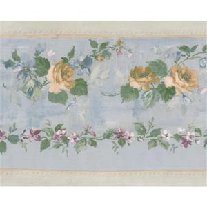 Norwall Bloomed Roses on Vine Wallpaper Border - Yellow/Teal