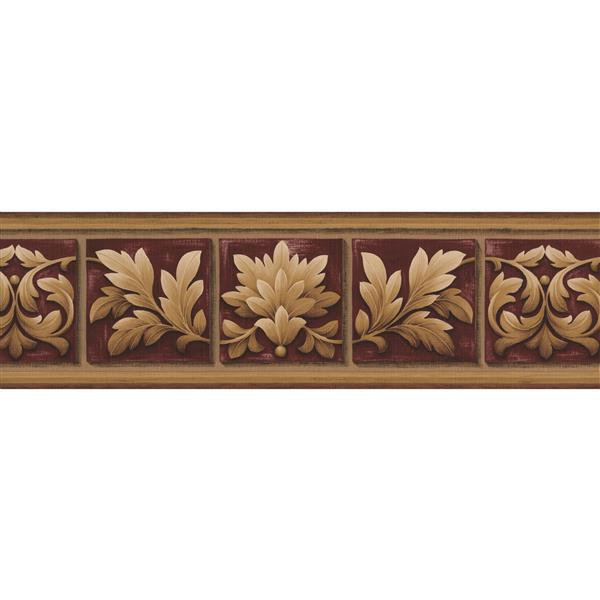 Norwall Damask Vines Square Floral Wallpaper - Beige/Plum