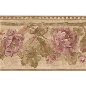 Retro Art Roses Floral Wallpaper Border - Purple