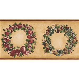 Norwall Berries Wreath Wallpaper Border - Yellow