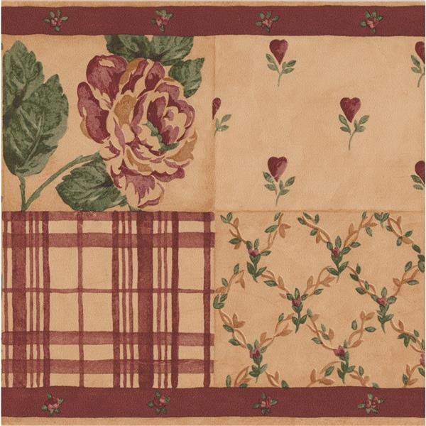 Norwall Roses Striped Wallpaper Border - Pink/Brown