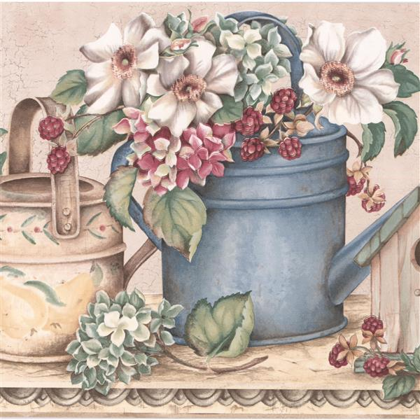 York Wallcoverings Berries and Birdhouse Floral Wallpaper Border - White/Pink