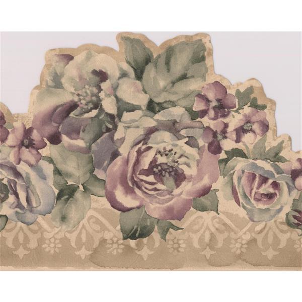 Norwall Vintage Floral Wallpaper Border - Purple