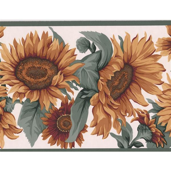 Retro Art Sunflowers Floral Modern Wallpaper Border - Yellow