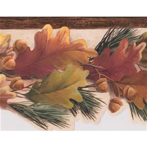 Autumn Leaves and Acorns Wallpaper Border - Brown/Yellow