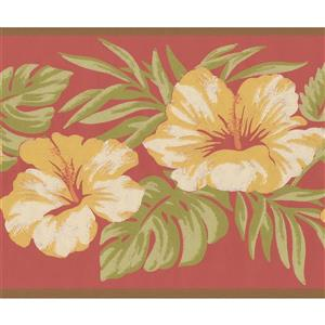 York Wallcoverings Vintage Floral Wallpaper Border - Yellow/Pink