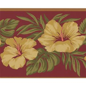 York Wallcoverings Rosewood Vintage Floral Wallpaper Border - Pink