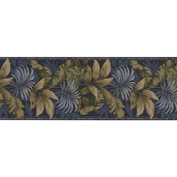 Norwall Retro Floral Wallpaper Border Roll - Blue/Grey