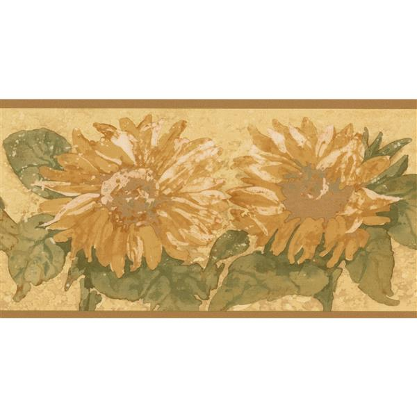Norwall Retro Floral Wallpaper Border - Yellow