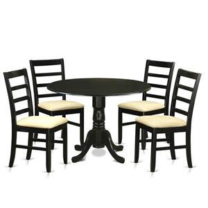 East West Furniture Dublin Dining set - Wood - Black - 5 Pieces