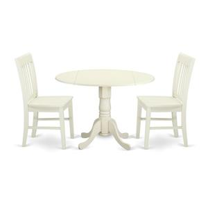 East West Furniture Dublin Dining set - Wood - White - 3 Pieces