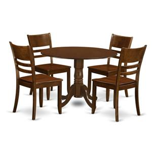 East West Furniture Dublin Dining set - Wood - Brown - 5 Pieces
