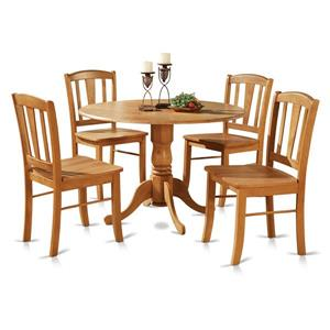 East West Furniture Dublin Dining set - Wood - Oak - 5 Pieces