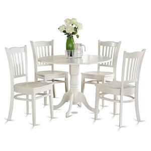 East West Furniture Dublin Dining set - Wood - White - 5 Pieces