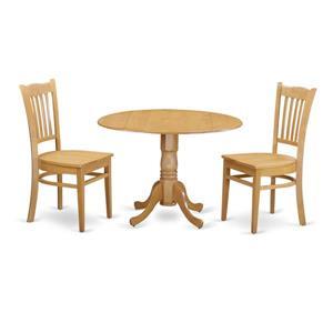 East West Furniture Dublin Dining set - Wood - Oak - 3 Pieces