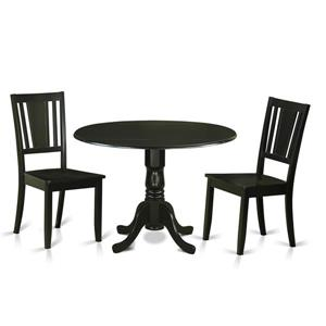 East West Furniture Dublin Dining set - Wood - Black - 3 Pieces