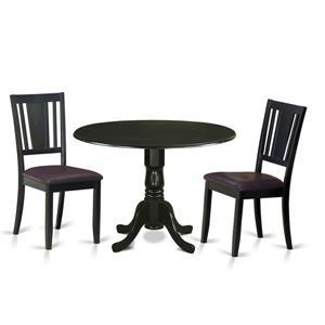 East West Furniture Dublin Dining set - Wood - Black - 3 Pieces