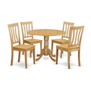 East West Furniture Dublin Dining set - Wood - Oak - 5 Pieces