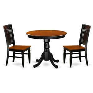 East West Furniture Antique Dining set - Wood - Black - 3 Pieces