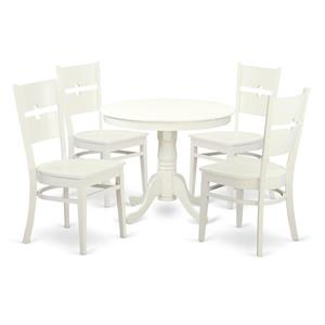 East West Furniture Antique Dining set - Wood - White - 5 Pieces