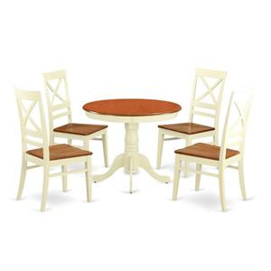 East West Furniture Antique Dining set - Wood - White/Cherry- 5 Pieces