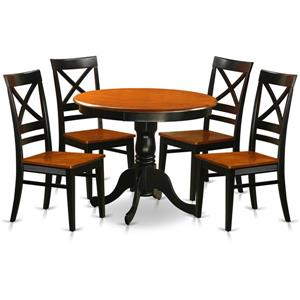 East West Furniture Antique Dining set - Wood - Black - 5 Pieces