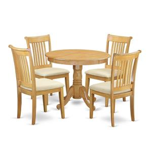 East West Furniture Antique Dining set - Wood - Oak - 5 Pieces