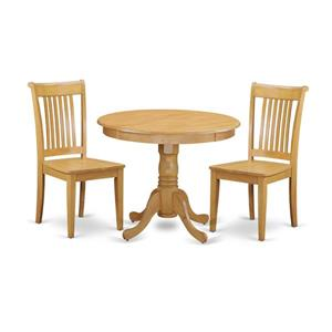 East West Furniture Antique Dining set - Wood - Oak - 3 Pieces