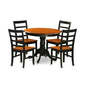 Antique Dining set - Wood - Black - 5 Pieces