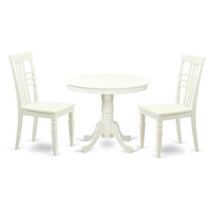 Antique Dining set - Wood - White - 3 Pieces