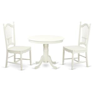 East West Furniture Antique Dining set - Wood - White - 3 Pieces