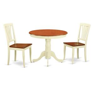 East West Furniture Antique Dining set - Wood - White/Cherry- 3 Pieces