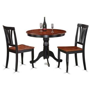 East West Furniture Antique Dining set - Wood - Black - 3 Pieces