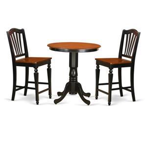 East West Furniture Jackson Dining set - Wood - Black - 3 Pieces